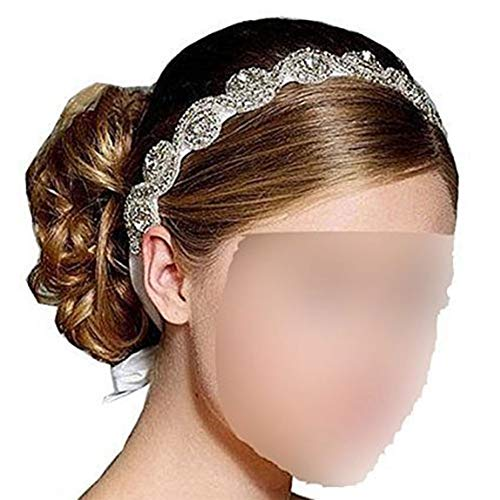 Goege Elegent Luxury Handmade Crystal Rhinestone Jewelry Beads Bridal Wedding Evening Pageants Proms Birthday Christmas Gift Headband Satin Ribbon Hiarband Headwrap Hair Band Accessory ()