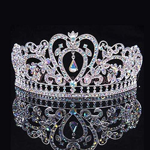Luxury Crystal Ab Bridal Crown Tiara Diadem Heart Crown Transparent Fashion Queen Crown Princess Crown Hair Accessories Wholesale Wedding Party ()