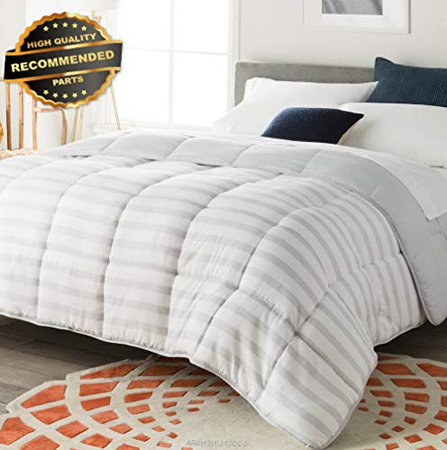 Gatton Premium New ReversibStriped Down Altertive Quilted Comforter with Corner Duvet | Style Collection Comforter-311012197 ()