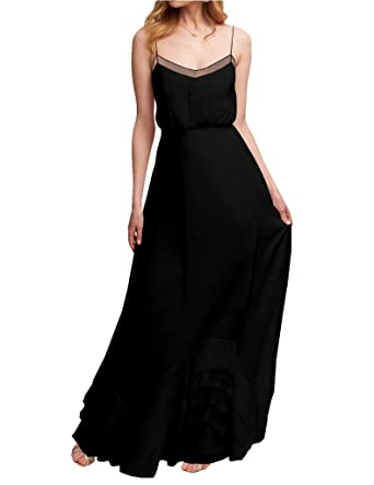 Amore Bridal Womens Spaghetti Strap Chiffon Wedding Bridesmaid Dress Long Prom Gown Black, ...