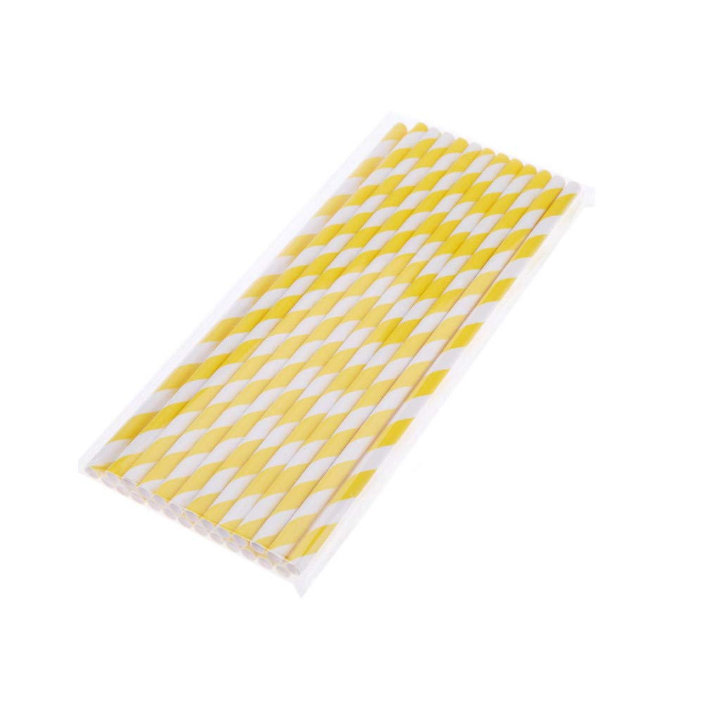 Drinking Straws Colored Stripes Biodegradable Paper Straws Eco-friendly Reusable 20 Pieces Disposabl Drinking Straws (yellow)