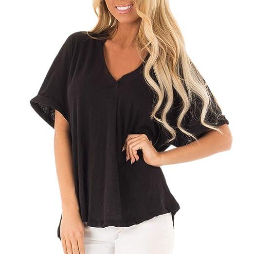 31590277466b Lawzl Women Dolman Style Cuffed Chiffon Short Sleeve V-Neck Solid Blouse T-Shirt  Tops at Amazon Women's Clothing store: