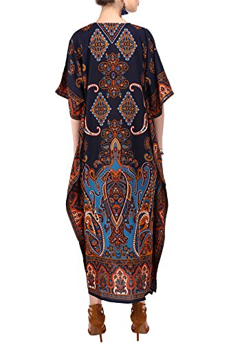 Lavish London Cover Tunic for Dresses Maxi Kimono Long Loungewear Free Kaftan Women Size 102 Miss Blue Dress up Beach Everyday Party Holidays Nightwear 5dqAU5