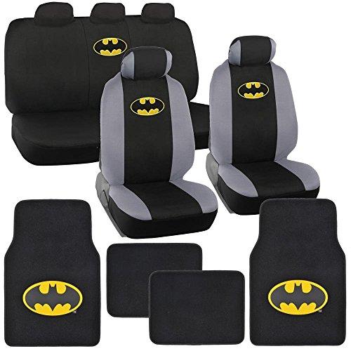 Gotham City Gray Silver Batman Logo On Black Car Seat Covers Plush Carpet Leather Trim Floor Mats Marvel Comics Auto Interior Kit