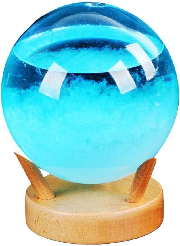 Storm Glass Weather Forecaster /Él/égant Pr/édicteur De Pr/évisions M/ét/éo De Bureau Innovant Avec Base En Bois Petite Station M/ét/éo Pour Bureaux /À Domic Storm Glass Barometer Barometre Cristaux