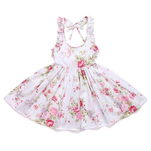 (Flofallzique Little Girls Sundress Vintage Floral Princess Cotton Baby Clothes for 1-8 Y (5, White))