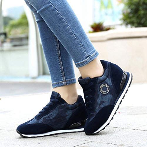 Hoxekle Womens High Top Platform Wedge Sneakers Fashion Sports Hidden Heel Increased height Camo Shoes Camo Blue 2fbxhkbYtH
