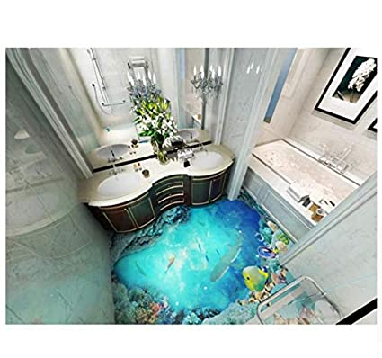 Pvc 3d Wallpapers Bathroom 3d Floor Tiles Ocean Waterproof