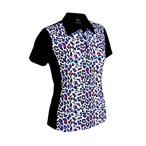 (Monterey Club Ladies Dry Swing Fun Leopard Colorblock Princess Seam Polo Shirt #2350 (Black/White, Large))