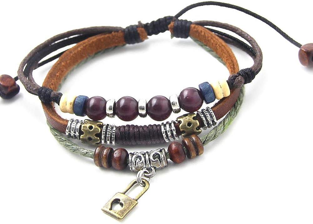 ys695–AGATHE Creation–Pulsera Tibetain puerta felicidad–colgante candado–piel y perlas de madera y metal–Multicolor–hecho a mano