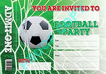 FOOTBALL No2 46 TICKET INVITATIONS Childrens Kids Party Invites Pack Of 10 Inc Envelopes