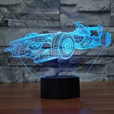 Racing Car 3D Illusion Lamp Led Night Light, USB Powered 7 Colours Flashing Touch Switch Bedroom Decoration Lighting for Kids Christmas Gift