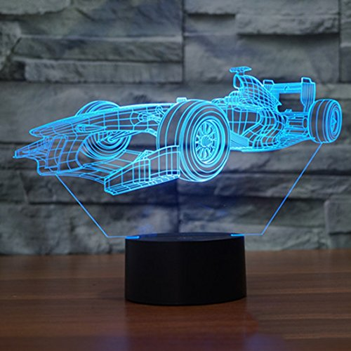Racing Car 3D Illusion Lamp Led Night Light, USB Powered 7 Colours Flashing Touch Switch Bedroom Decoration Lighting for Kids Christmas Gift by Atglus