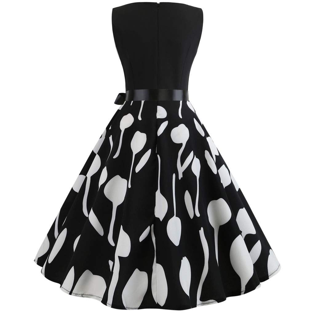 Twinsmall 2019 Womens Classy Audrey Hepburn 1950s Vintage Rockabilly Swing Tea Dress with Belt (M, Black 1)