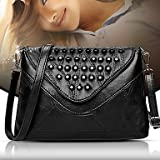 YJIUX Women Shoulder Bag PU All Seasons Wedding Event/Party Casual Formal Office & Career Flap Rivet Snap Black,Black