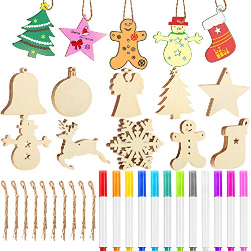 Blulu 50 Pieces Christmas Wooden Hanging Ornaments Unfinished Wood Cutouts with 50 Pieces Ropes and 12 Pieces Marker Pens for DIY Christmas Craft Decoration (Out Cut Christmas Ornaments)