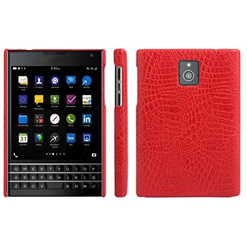 BlackBerry Passport Case, HualuBro [Ultra Slim] Premium Crocodile Pattern Lightweight Leather Phone Protective Case Cover for BlackBerry Passport Smartphone (Crocodile Cover Red)