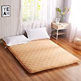 Yellow star Double tatami mattress, Student dorm futon mattress topper portable sleeping pad non-slip floor mat quilted foldable cushion mats-yellow 90x200cm(35x79inch)