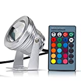 Sanwo 10W 12V RGB LED Underwater Light for Pond Fountain Garden, 900LM IP67 Waterproof LED Spotlight with Remote Control(Silver)