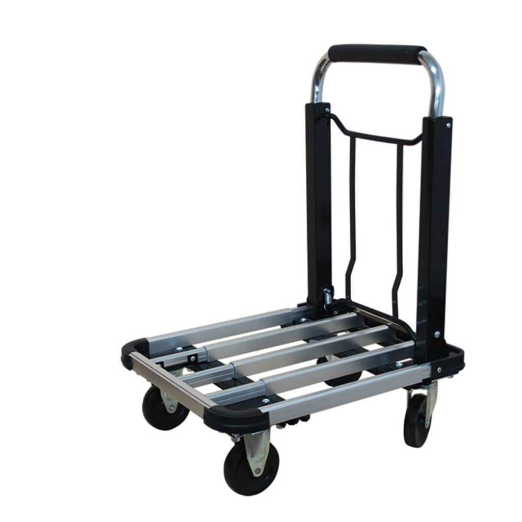 Jian E Telescopic Folding with Brake Trolley Four-Wheel Truck Multi-Functional Logistics Warehousing Pushing Tool Cart Hand Truck Mute Flatbed Steel Trolleys