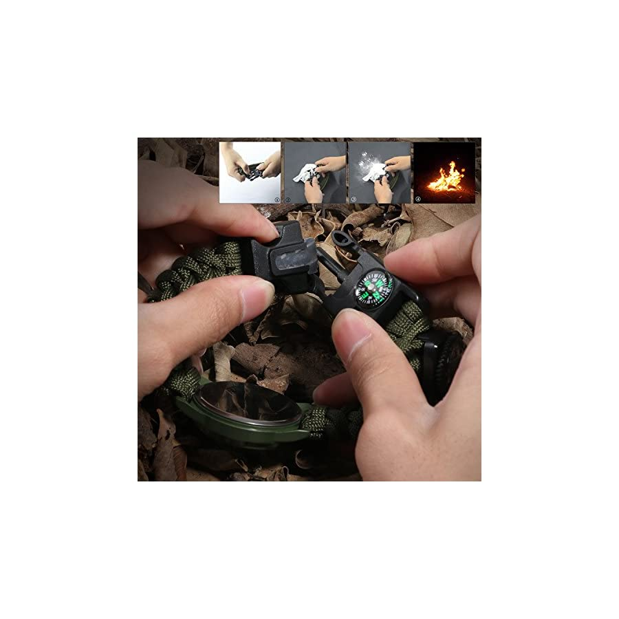 6 in 1 Paracord Survival Watch, Unisex Bracelet Watch with Paracord Whistle Compass Thermometer and Fire Starter Scraper