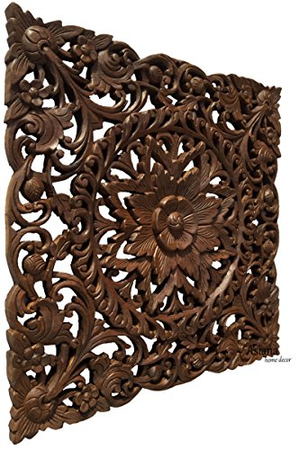 Rustic Wood Wall Art Decor. Large Carved Wood Plaque. Decorative Lotus Floral Wood Wall Panel.Oriental Home Decor. Dark Brown 24