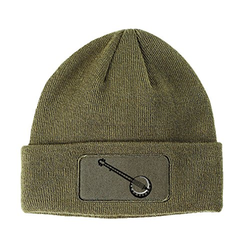 Speedy Pros Music Instrument Banjo Embroidery Double Layer Acrylic Patch Beanie, Olive Green