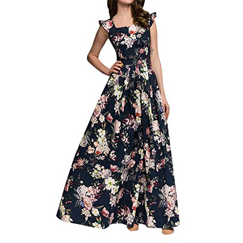 Women's Elegant Printing Party Dress Popular Sleeveless Square Collar Maxi Dress Navy