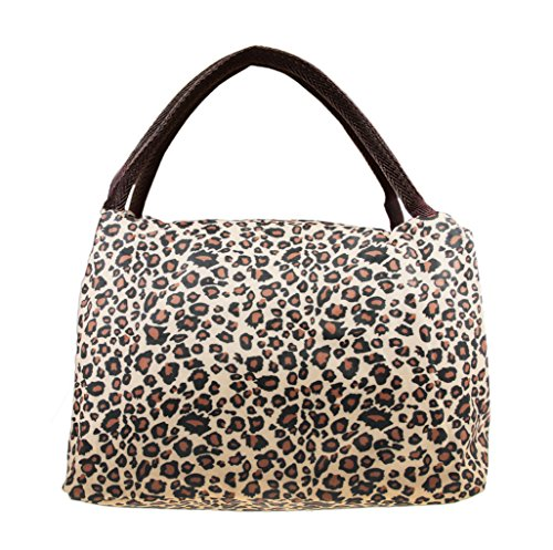 Greenery Luxury Oxford Waterproof Reusable Zipper Lunch Box Organizer Tote Handbag Meal Bag for Outdoor Travel Camping Picnic Barbecue Office Work School (Leopard)