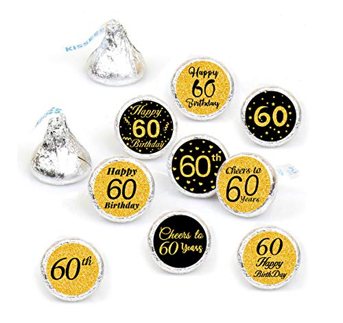 60th Birthday Party Favor Labels-Gold and Black (378 -