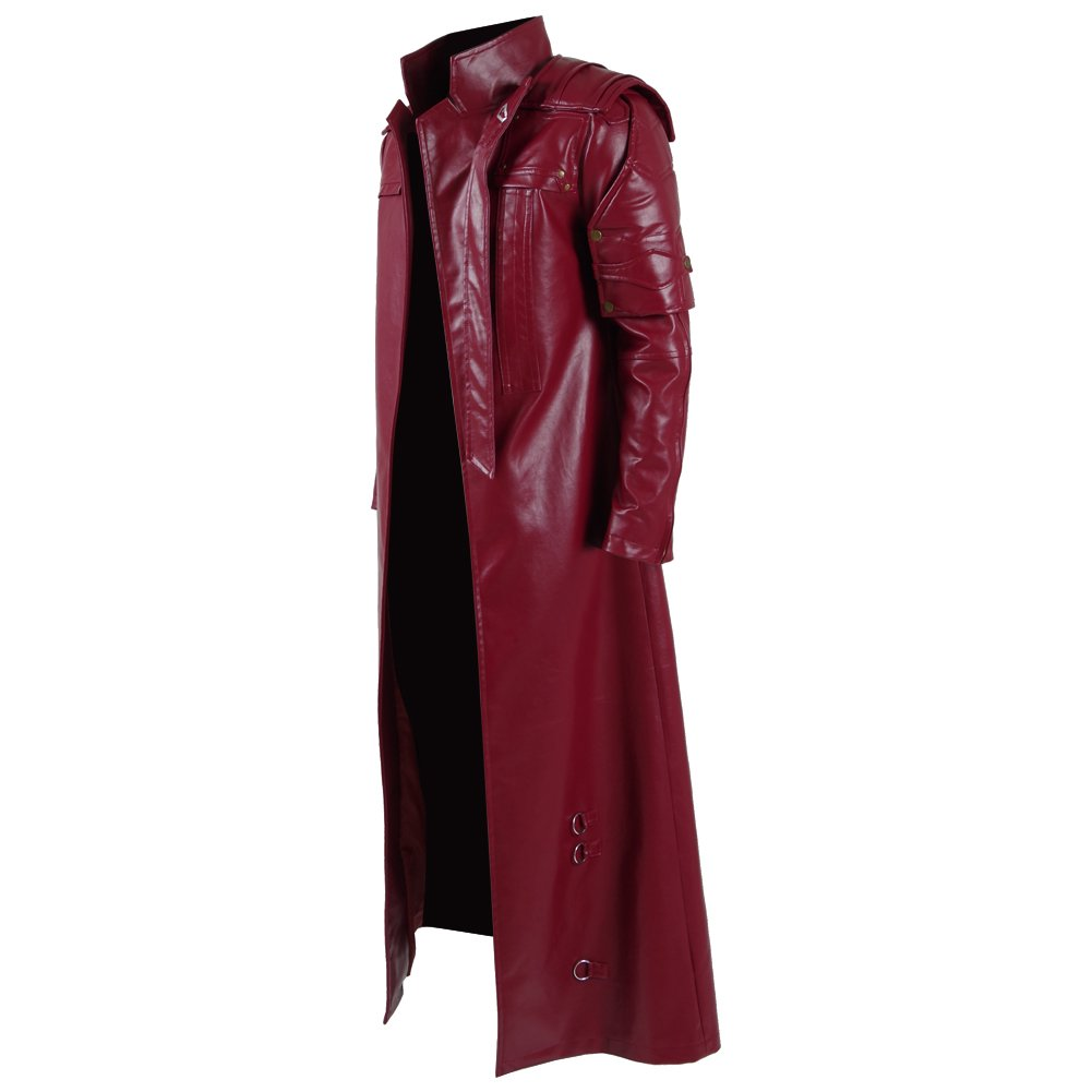 Men's Red PU Leather Trench Coat Cospaly Costume Halloween Outfit Uniform (US Men-L, Red) by FANER (Image #2)