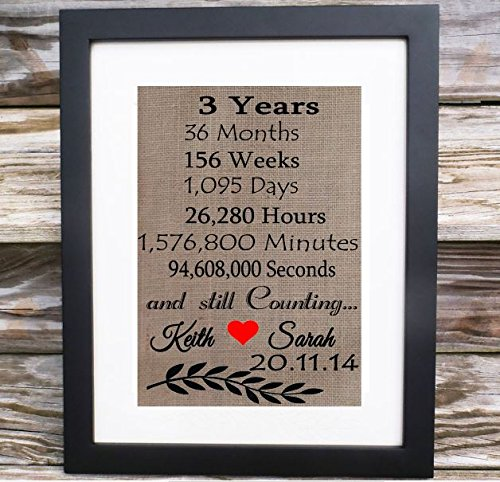 Amazon.com 3 Years Months weeks days .and still counting | Third Wedding Anniversary Gift for Husband Wife | Personalized Linen Print | Personalize for ANY ... & Amazon.com: 3 Years Months weeks days .and still counting | Third ...