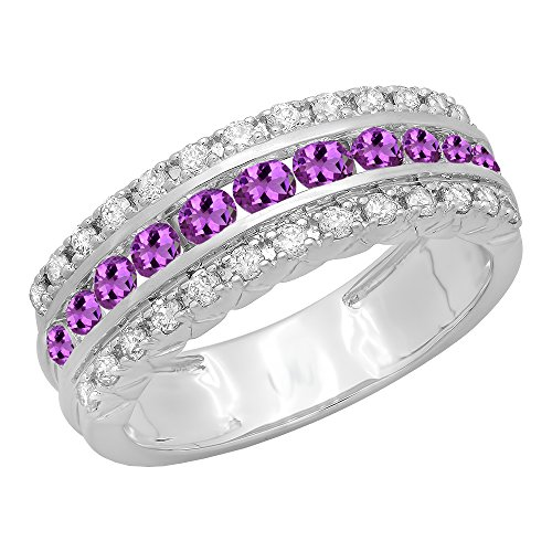 Dazzlingrock Collection 14K Round Amethyst & Diamond Ladies Engagement Wedding Anniversary Ring, White Gold, Size 7 Amethyst Ladies Fashion Gold Ring