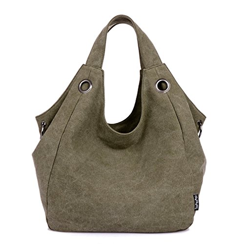 TianHengYi Women's Big Capacity Canvas Double Top Handle Tote Handbag Vintage Hobo Shoulder Bag Shopper ()