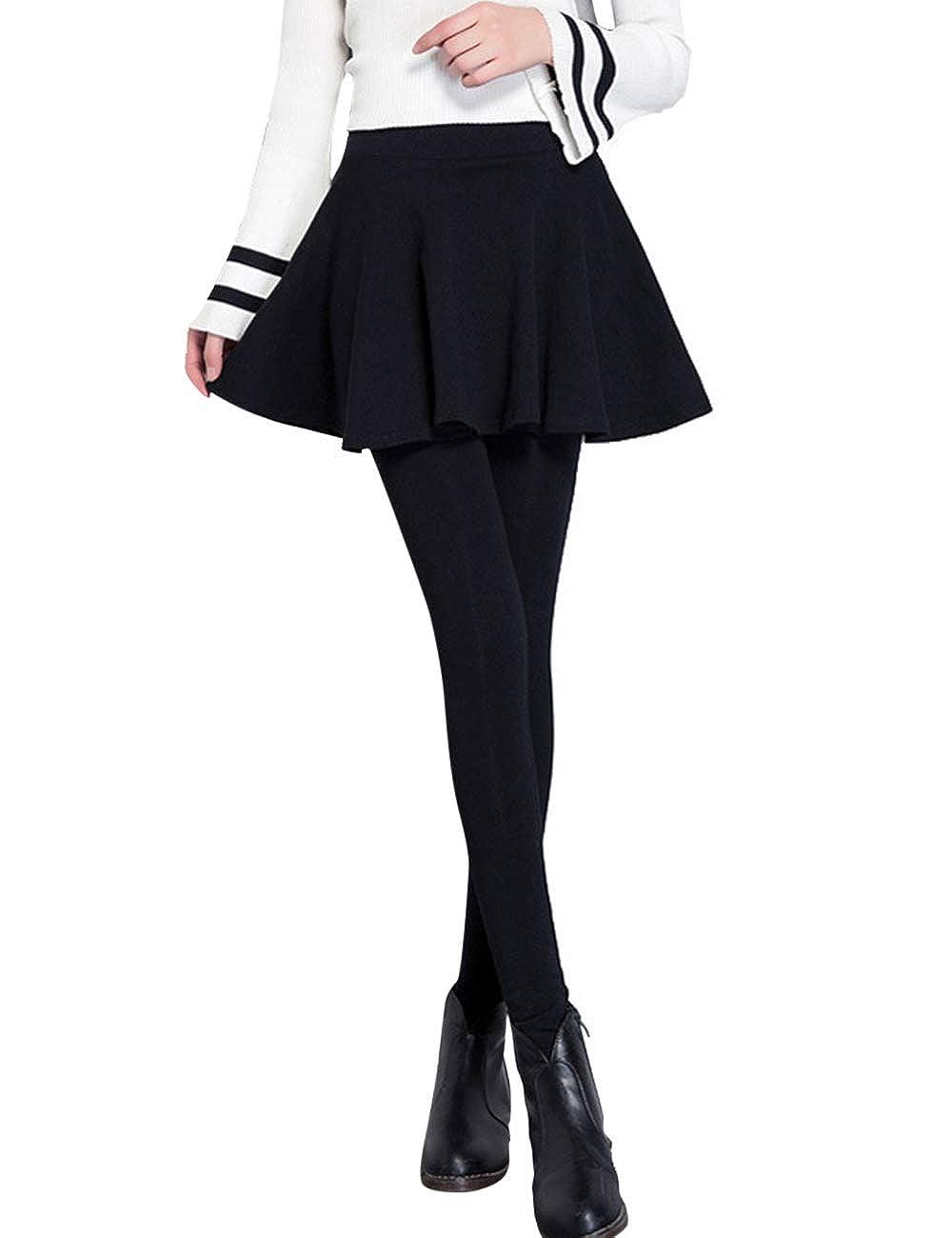 BESBOMIG Women's Maternity Skirt Leggings Support Belly Velvet Warm Autumn Winter