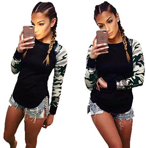XILALU Women Camouflage Long Sleeve Shirt Casual Blouse Tops T Shirt (S) (Spoon Long Sleeve T-shirt)