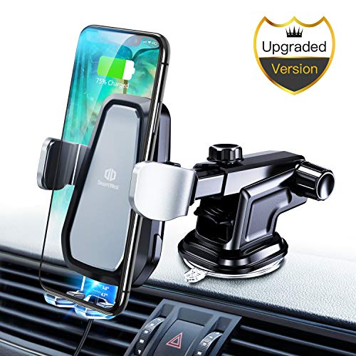 DesertWest Wireless Car Charger Mount, 2019 Upgraded Automatic Clamping 10W Qi Certified Wireless Car Charger Compatible with iPhone Xs/XS Max/X,Samsung Galaxy S10/S10+/S10e/S9/S9+/S8/S8+,