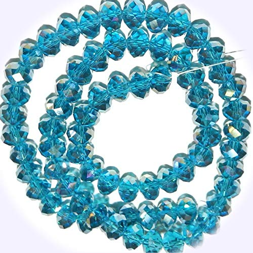 New Dark Teal Blue AB 8mm Rondelle Faceted Cut Crystal Glass Jewelry-Making Beads 16-inch DIY Craft Supplies for Handmade Bracelet Necklace