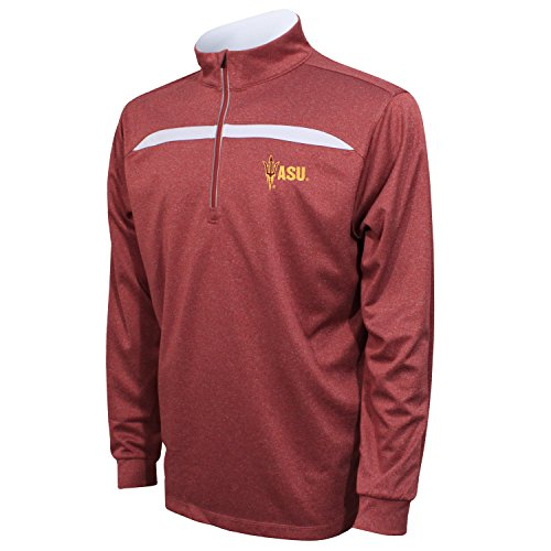 Crable NCAA Arizona State Sun Devils Adult Men's Quarter Zip with Contrast Panel, Large, Maroon/White (Arkansas University State Golf)