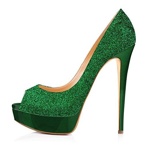 Womens Verde Sandals High Peep Brillo Toe Rojo Fondo Platform Heels Shoes Dress Wedding Pumps Stiletto Pan Caitlin Party ZqpW55