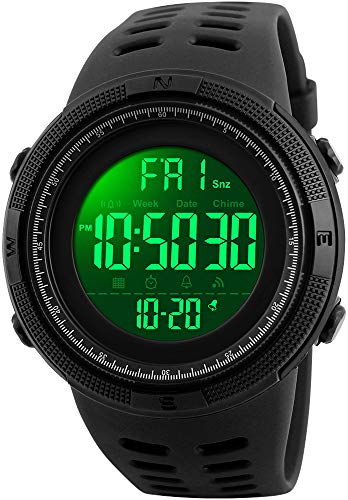 46b35aff9b5d4a Fanmis Mens Digital LED Sports Watch Military Multifunction 12H/24H Time  Dual Time Alarm Countdown