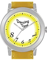 """Dancing Time"" Is the Theme on the Yellow Dial of the Large Round Polished Chrome Watch with Yellow Band"