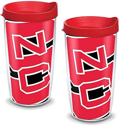 (Tervis 1093259 NC State Wolfpack Colossal Tumbler with Wrap and Red Lid 2 Pack 16oz, Clear)