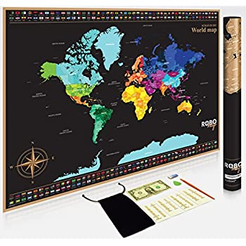 Amazoncom Scratch Off Map Of The World With States Easy Off Gold - Scratch away world map