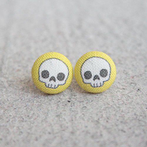 Yellow Cute Skull Fabric Button ()