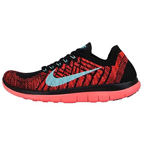 Nike Women's Wmns Free 4.0 Flyknit, BLACK/LIGHT AQ-GYM RED-BRIGHT CRIMSON, 6.5 US