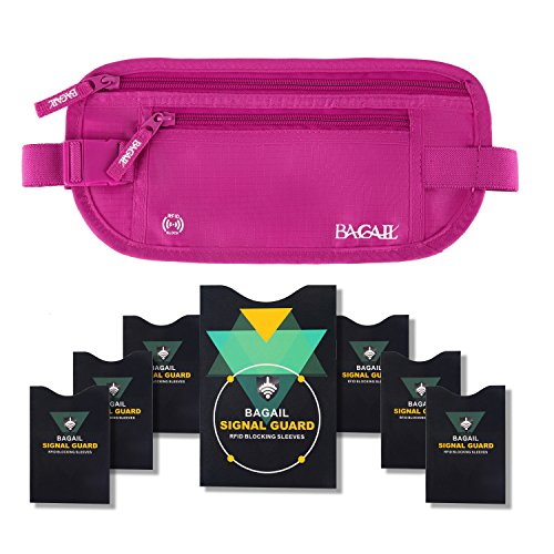 Money Organizer Deluxe - Bagail Money Belt Pouch w/ Dual Clip For Travel With RFID Passport & Credit Card Sleeves (Fushcia)
