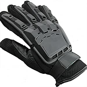 Dealzip Inc® Black Full Finger Armored Paintball Airsoft Vented Leather Combat Moterbike Gloves-Size:Medium