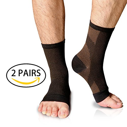 BULESK Compression Foot Sleeves, Plantar Fasciitis Socks for Ankle/Heel Support, Eases Swelling & Heel Spurs, Ankle Brace Support, Increases Circulation, Relieve Pain Fast