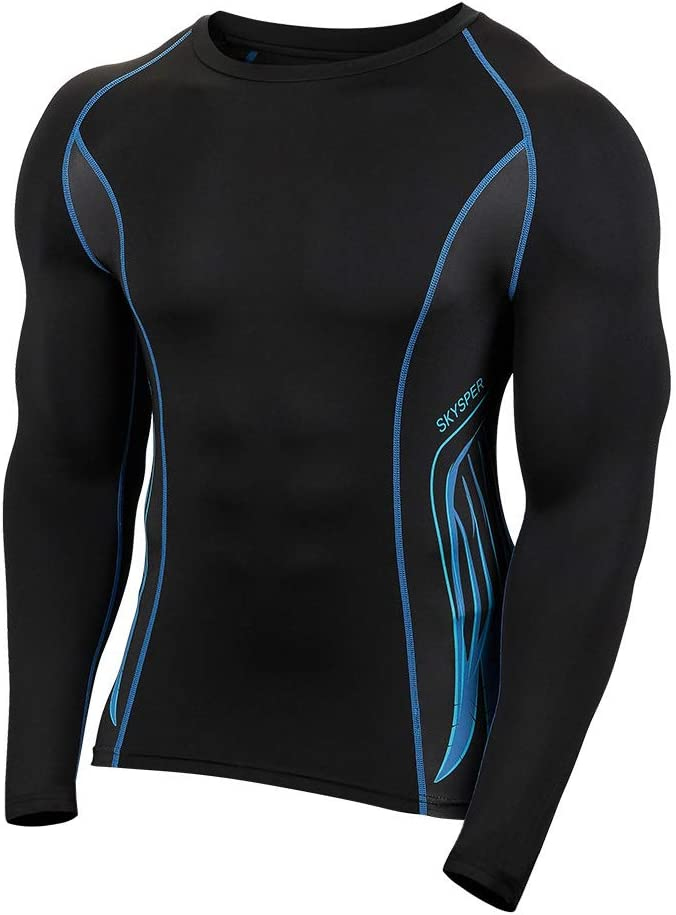 Men/'s Compression Base Layer Long Sleeve Plain Shirts Spandex Running Quick-dry